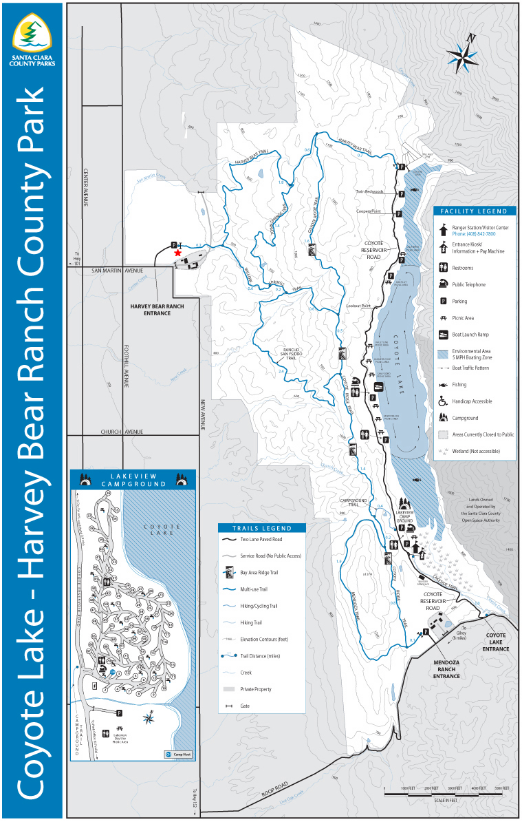 [ Map of the Coyote Lake-Harvey Bear Ranch Park. ]