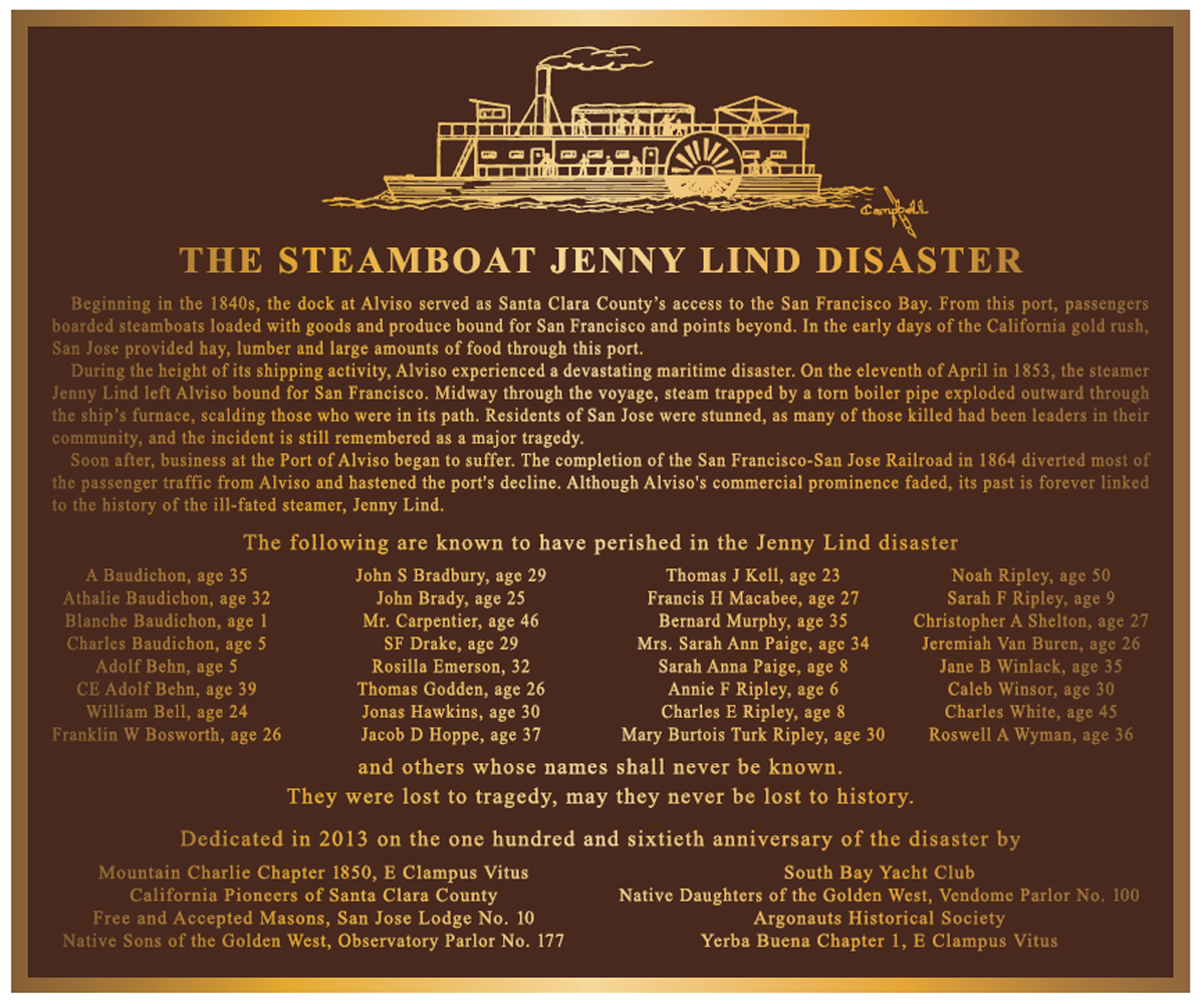 The Steamboat Jenny Lind Disaster Plaque