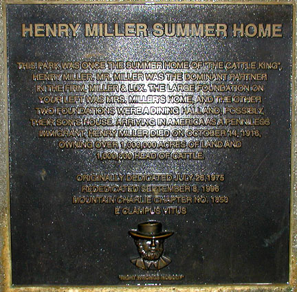 [ Photo of Henry Miller summer home plaque. ]